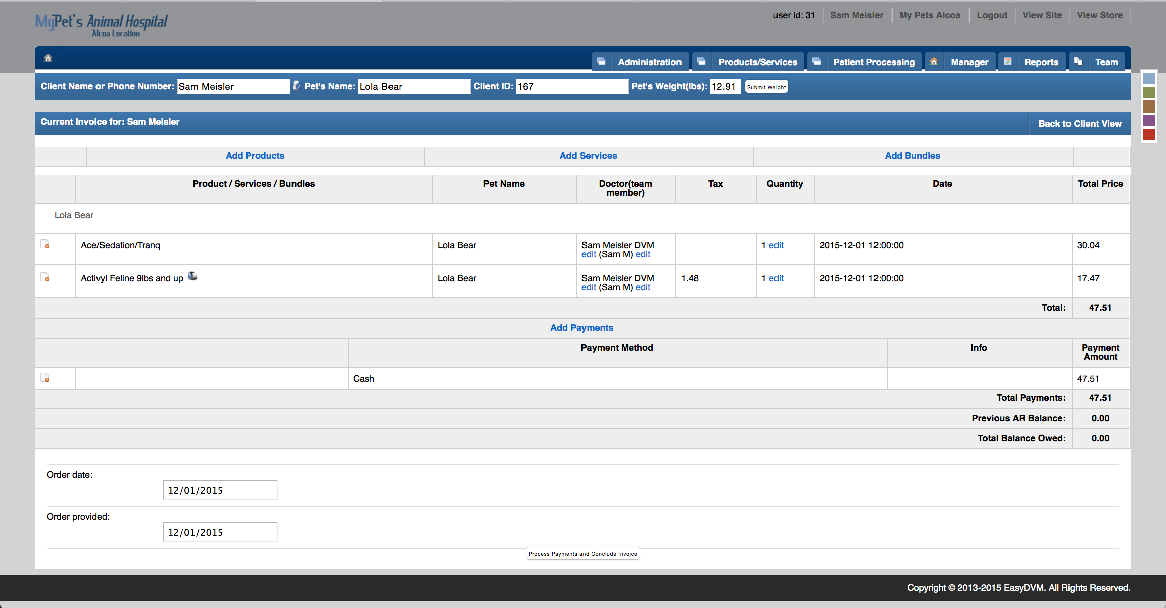 Features EasyDVM Veterinary Practice Management Software Cloud - Easy invoice system